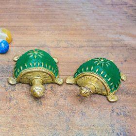 Dhokra Tortoise Table Top Set- Green