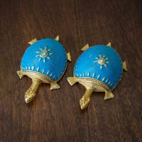 Dhokra Tortoise Table Top Set- Sky Blue