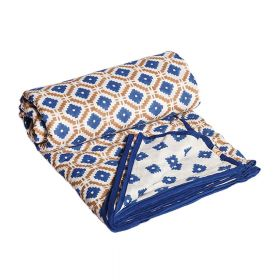 Blue Block Print Mulmul Dohar