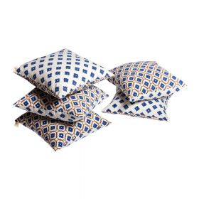 Blue Block Print Cushion Cover set of 5
