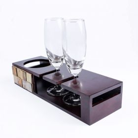 Champagne Tray Small With Glasses In Mango Wood