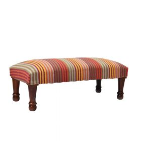 Striped Upholstered Bench