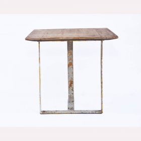 Square Light Brown Wooden Top Side Table