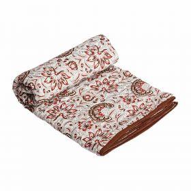 Floral Hand Block Print Mulmul Dohar
