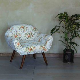 Floral Off White Barrel Chair