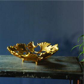 Golden Maidenhair Leaves Decorative Tray