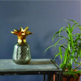 Grey Pineapple Glass Showpiece
