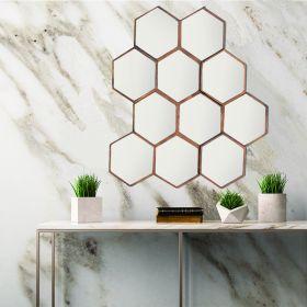 Iron Framed Hexagonal Mirror