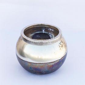 Sterling- Decorative Gold Leaf Silver Glass T-Light Holder