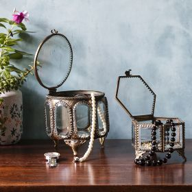 Hexagonal Glass Jewelry Box