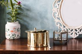 Floral Brass Decorative Box