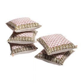 Peepal Hand Block Print Cushion Cover Set of 5