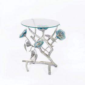 Neisha Flower Glass Side Table