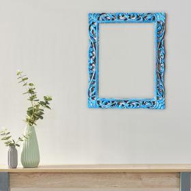 Rustic Turquoise Blue Mango Wood Rectangular Frame