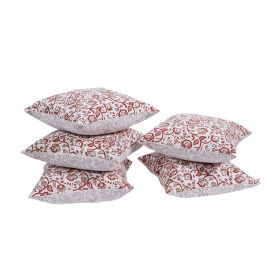 Wardaa Rust Block Print Cushion Cover set of 5