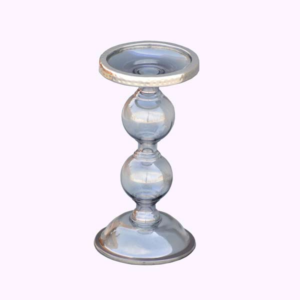 Grey Glass Pillar Candle Holder Big